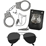 Skeleteen Kids Detective Set Accessories - Cool Special Agent Spy Gadgets Equipment for Detective Costumes with Sunglasses, Ear Piece, Badge, and Handcuffs