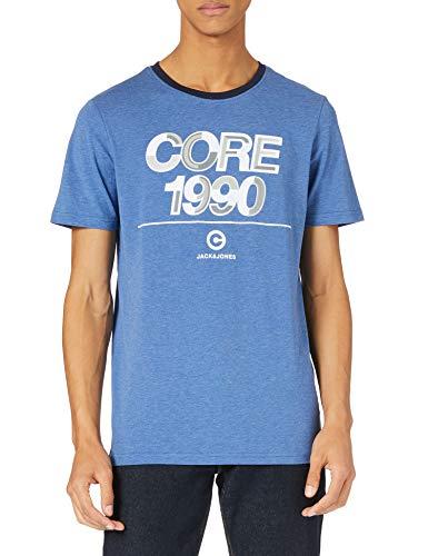 Jack & Jones Jcoberg Turk tee SS Crew Neck Camiseta, Galaxy Blue/Fit: Slim/Melange, L para Hombre