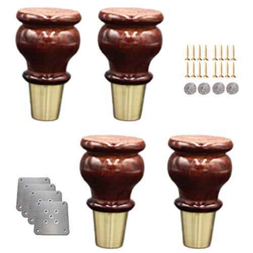 4x Holz Tischbeine,Kürbisform Massivholz Ersatz Möbelfüße Möbelbeine,mit Messing Abdeckung & Montagezubehör,für Sofa Bett Schrank Couch Ottomane,Mehreren Farben und Größen(Walnut10cm/3.9in)