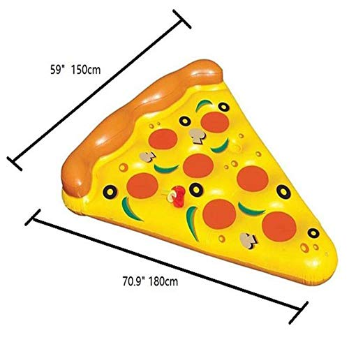 AOOA aufblasbares Pizza-Block, buntes schwimmendes Bett, Schwimmring, Wasser aufblasbares Bett, aufblasbares Kissen, schwimmendes Bett Pizzaflosse