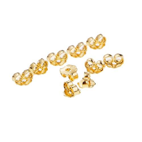 Sharplace 10 Stück 925 Sterlingsilber Ohrmutter Ohrring Stopper Ohrringverschlüsse - Gold