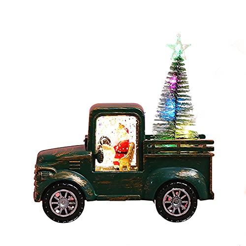 Sogaml Decoraciones navideñas, globo de nieve en forma de camión con un árbol de Navidad extraíble, adorno de festival de Navidad para mesa de comedor y hogar