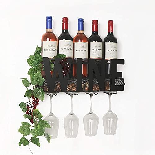 Estante de vino de hierro montado en la pared, estante de vino de vino, con 4 ganchos, puede sostener copa, decoración de dormitorio, 3 corchos de vino