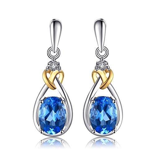 JewelryPalace Pendientes lujoso adornado Nano rusa imitado esmeralda en plata de ley 925