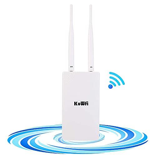 4G LTE Router, KuWFi WLAN-Router/4G LTE Router Cat4 High Gain Dual-antennen Mit SIM-kartensteckplatz Funktionieren in Ganz Europa