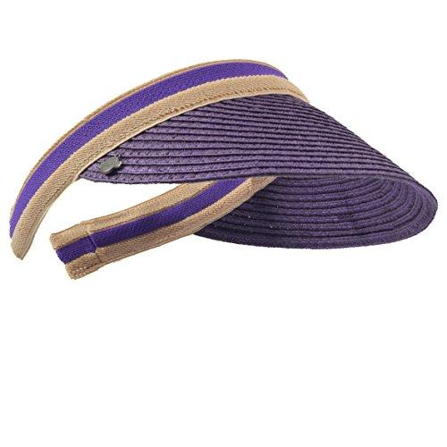 HISSHE HISSHE Damen Golf Visier Strand Stroh Sonnenhut Visoren Hüte (Violett)