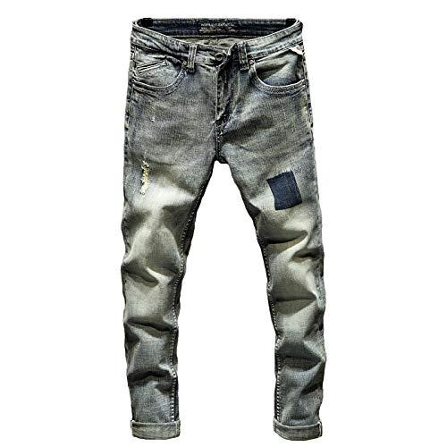 Vaqueros para Jeans Pantalones Punk Jeans Hombres Slim Fit Retro Blue Stretch Primavera Y Otoño Patchwork Ripped Jeans para Hombres Streetwear Jeans 28 Blue