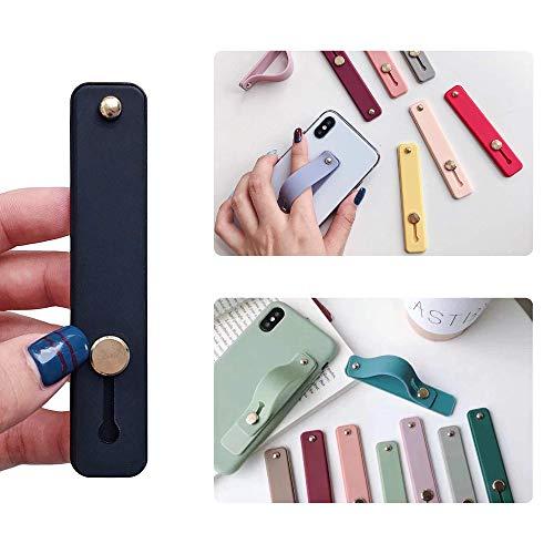 Phone Grip Holder Portable Telescopic Finger Strap Bracket Phone Loop Finger Kickstand for Universal Phone Charms (Black NOheart)