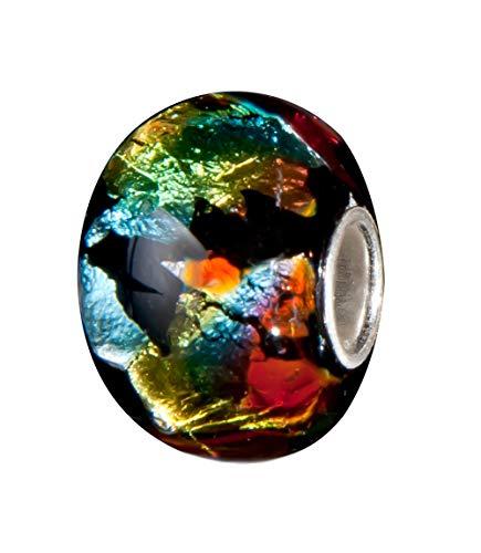 Andante-Stones 925 Sterling Silber Glas Bead Charm Sealife (Schwarz Multicolor Metallic) Element Kugel für European Beads + Organzasäckchen