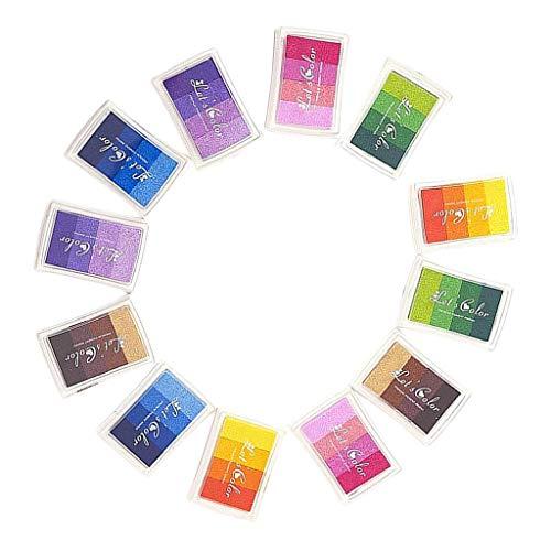 LOVIVER Almohadilla de Tinta Artesanal de 12 Colores para Sellos de Goma Almohadillas