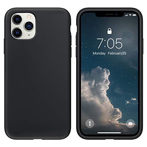 OUXUL Case for iPhone 11 Pro 5.8 inch(2019) Liquid Silicone Gel Rubber Phone Case, Full Body Slim Soft Microfiber Lining Cushion Shockproof Protective Case Compatible with iPhone 11 Pro(Black)
