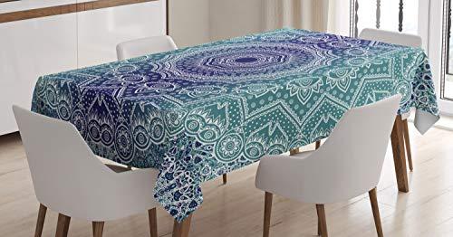 ABAKUHAUS Armada y Teal Mantele, Ombre Tribe, Resistente al Agua Lavable Colores No Destiñen Personalizado, 140 x 200 cm, Azul Oscuro Teal