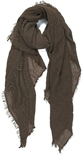 Chic Ladies Crinkle Distressed Effect Scarf with Fringed Edges