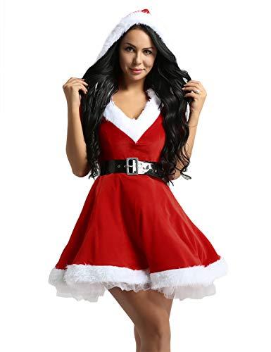 iEFiEL Costume da Babbo Natale Donna Cosplay Halloween Carnevale Party Festa Partito Vestito Natalizio con Cappuccio + Cintura Due Pezzi Miss Santa Rosso Bianco Rosso L