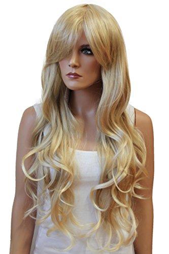 PRETTYSHOP Unisexe Perruque Pleine Cheveux Longs Fibres Synthétiques Résistant à La Chaleur Ondulé Volumineux mélange blond # 25T613 FS836g