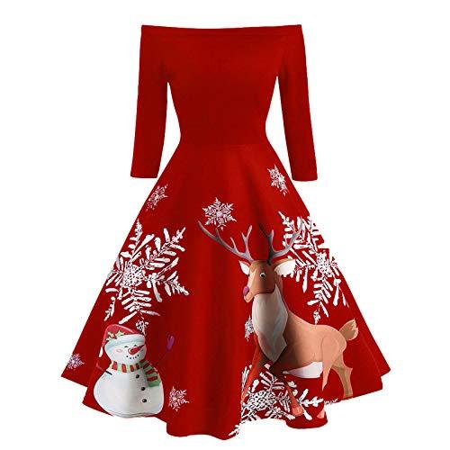 Writtian Weihnachtskleid Damen Große größen Langarm Vintage Retro Cocktailkleid...