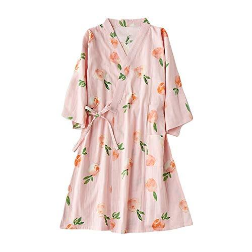 TaoRan Kimono-pyjama's dames-katoengas zeven punts mouwen losse kimono-pyjama's stoomende huisdienst