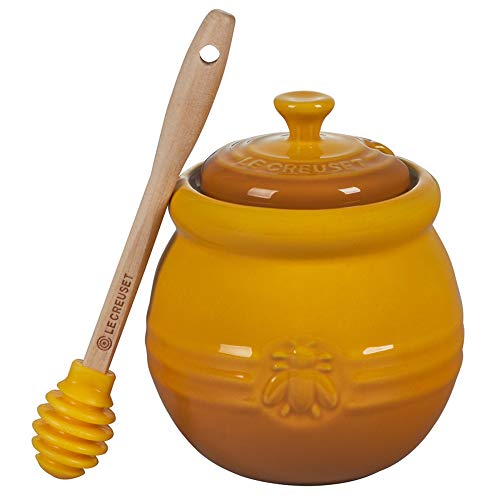 Le Creuset Stoneware Honey Pot with Silicone Dipper, 16 oz., Nectar