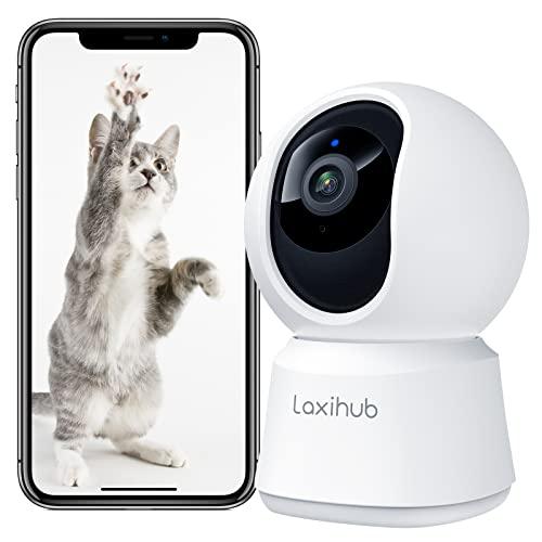Laxihub Überwachungskamera Innenkamera WLAN P2 Haustier Kamera mit App, 1080P HD Nachtsicht Hundekamera, 2-Wege-Audio IP Kamera Pet Camera mit Bewegungs- & Geräuscherkennung für Hunde & Katzen, 1PC
