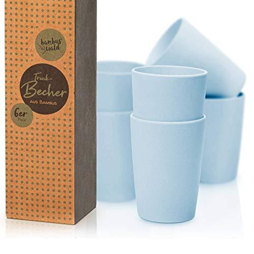 bambuswald© ökologische Trinkbecher ca. 220ml Volumen - 6er Packung Becher | Getränkebecher aus Bambus - spülmaschinenfest & robust | Tasse Geschirr für Kalt- & Heißgetränke