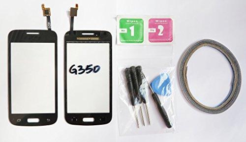 JRLinco Für Samsung Galaxy Core Plus G3500 G350 G3502 Glas Bildschirm Display Touchscreen Ersatzteil (Ohne LCD) Fürschwarz + Werkzeuge & doppelseitigen Kleber + Alkohol Reiniger Paket