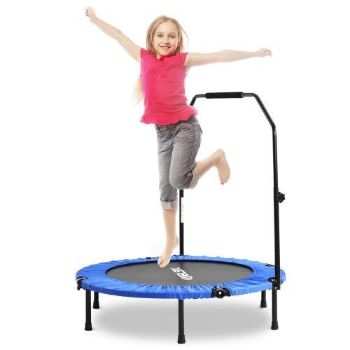 Fitness Rebounder Trampolin faltbar, Fitness Trampolin Indoor höhenverstellbarer Haltegriff, Klappbare Trampoline, Kindertrampolin, Max Belastung 100kg, 40