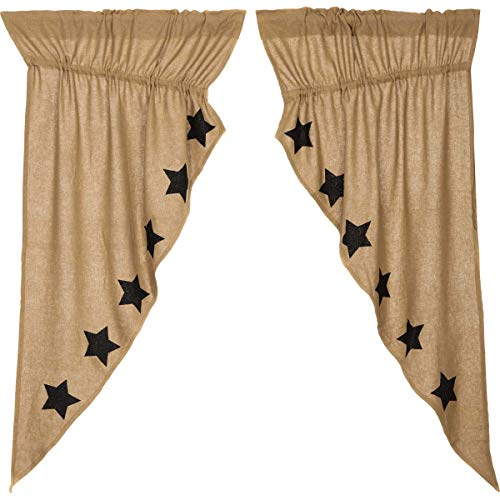VHC Brands Burlap with Black Stencil Stars Prairie Short Panel Set of 2 63x36x18 Country Curtains, Tan