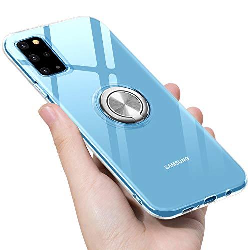 kadixini Kompatibel mit Handyhülle Samsung Galaxy S20 Plus Hülle Soft Silikon Hülle Ultra Dünn TPU Bumper Case 360 Grad Ring Stand Magnetische Autohalterung Schutzhülle für Transparent Anti-Kratzer