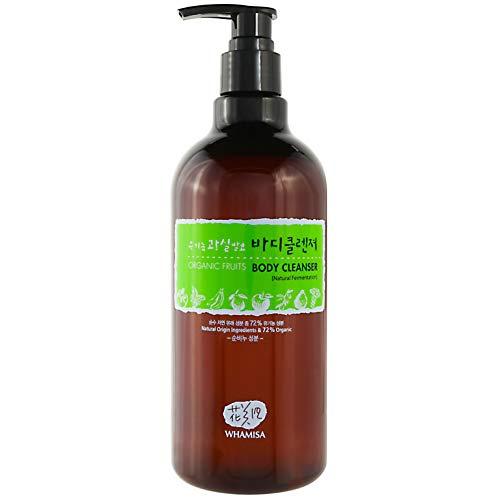 WHAMISA Organic Flowers Body Cleanser - Duschgel für Feuchtigkeit und Gereinigte Poren - Apfel Kiwi Aloe Vera Rosenholz - Koreanische Beauty Naturkosmetik 500ml