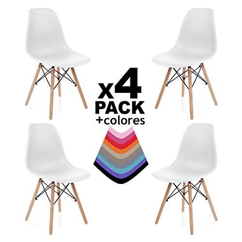 Duehome Pack 4 SILLAS Comedor Blanco, Polipropileno y Madera, 56x47x81 cm, 4 Unidades