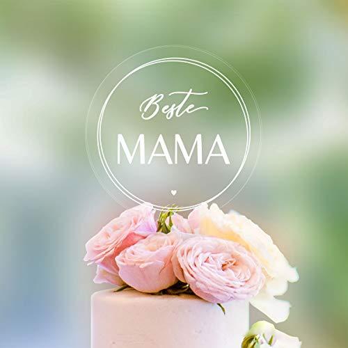 Dankeskarte.com Transparenter Cake Topper Beste Mama - für die Torte zum Muttertag - transparentes Acrylglas mit Druck - Tortenaufsatz, Kuchen, Tortendeko, Tortenstecker, Kuchenaufsatz, Kuchendeko