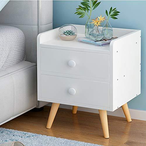 NYDZDM trä sängbord med låda sängbord sovrum förvaringsskåp sängbord skåp säng litet skåp (färg: vit)