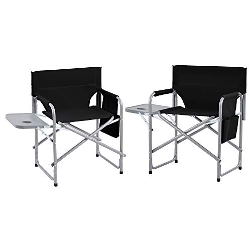 Set of 2 Folding director chair, camping chair with side table and side pockets, folding beach chair, portable deck chair for outdoors,black