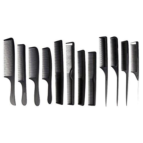 12PCS Kit del peine del peluquero con una bolsa para la herramienta de corte de pelo peluquería profesional 9 unidades (Negro)