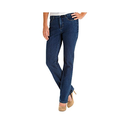 LEE Women's Petite Instantly Slims Classic Relaxed Fit Monroe Straight Leg Jean, Seattle, 14 Short