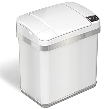 iTouchless Automatic Touchless Sensor Trash Can – includes Odor Filter and Fragrance – 2.5 Gallon  - White