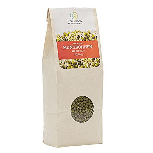 Cell Garden® Mungbohnen Samen Bio | 500 g – Mungbohnen Sprossen Samen für Sprossen und Microgreens mit hoher Keimfähigkeit - 100{ab24ae381442ba62200a7d11c2b4614c1a4657bb777a7b909b16407bd4c98c50} Laborgeprüfte BIO-Qualität – mit Keimanleitung