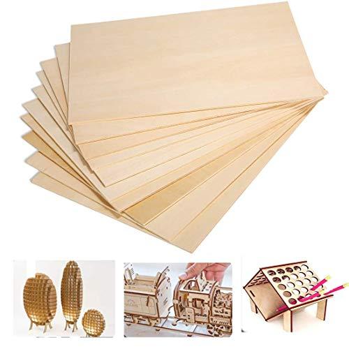 10 placas de madera de balsa A5 contrachapada para casa, avión, barco, modelo de sierra de marquetería 220 x 150 x 1,5 mm (#3)