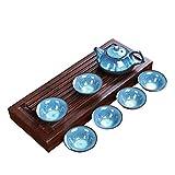 Set de té de Porcelana Kung Fu Tenmoku Fish Fun Tea Taza Taza Ore Zisha Tetera Set 1 Tetera + 6 Tazas (Color : See chart1)