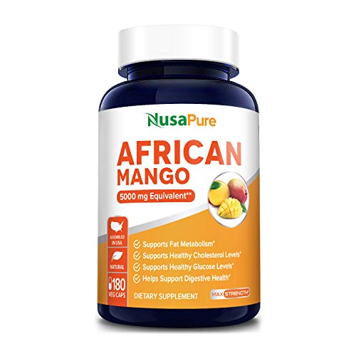 African Mango Extract 5,000 mg per Veggie Caps 180 Capsules (Non-GMO & Gluten Free) Supports Healthy Glucose Levels*