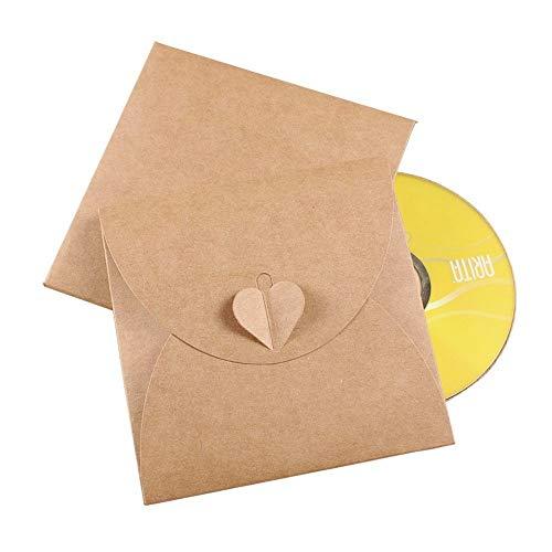 JZK 50 x Weinlese Kraftpapier unbelegter Umschlag Hüllen Sleeves Kuverts für CD DVD sofortige Verschlussschußfotos, Party Favor für Hochzeit Geburtstag Party Weihnacht (CD Umschlag)