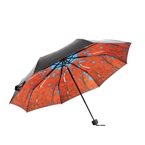 Tres Paraguas Plegable Paraguas Soleado Creativo Japonés Masculino y Femenino Paraguas Negro Protección Sol Paraguas luz UV Paraguas