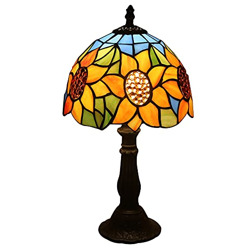Lámpara De Mesa Estilo Tiffany7.8Inch American Country Mediterranean Sunflower Creative Tiffany Stained Glass Living Room Dining Room Bedside Table Lamp