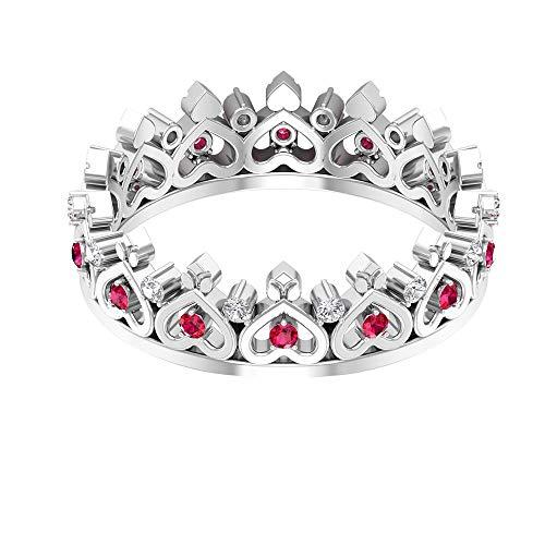 Anillo de boda vintage, antiguo corazón de novia, anillo de diamante redondo HI-SI, anillo de declaración de rubí, anillo de apilamiento de piedra natal de julio, 18K Oro blanco, Size:EU 54