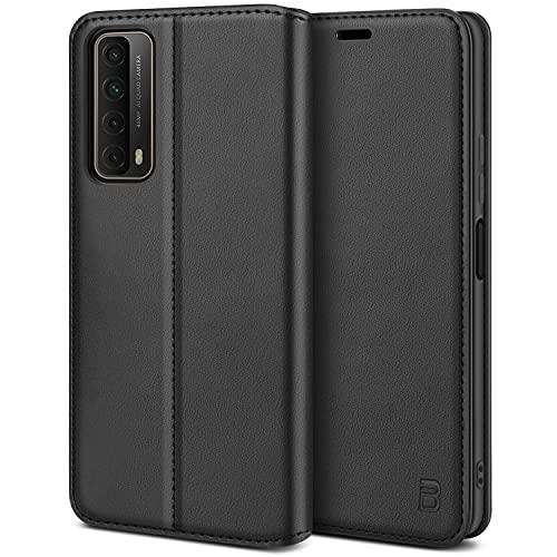 BEZ Handyhülle für Huawei P Smart 2021 Hülle, Premium Tasche Kompatibel für Huawei P Smart 2021, Tasche Hülle Schutzhüllen aus Klappetui mit Kreditkartenhaltern, Ständer, Magnetverschluss, Schwarz