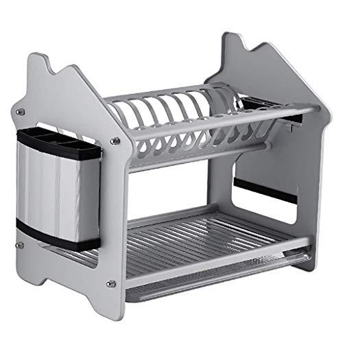 L.TSA Küchenregal Double-Layer-Raum Aluminium Abtropffläche Rack Küche Lagerung Lagerregal 45 * 29 * 36cm.