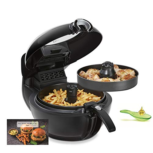 An image of the Tefal ActiFry Genius XL YV9708 fryer Hot air fryer Double Black 1500 W ActiFry Genius XL YV9708, Hot air fryer, 1.7 kg, ActiFry, 70 °C, 220 °C, 6 person(s)