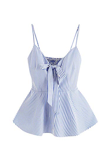 Romwe Women's Cute Striped Bow Tie Front Spaghetti Strap Shirred Back Peplum Cami Tank Top Vest Blue Small