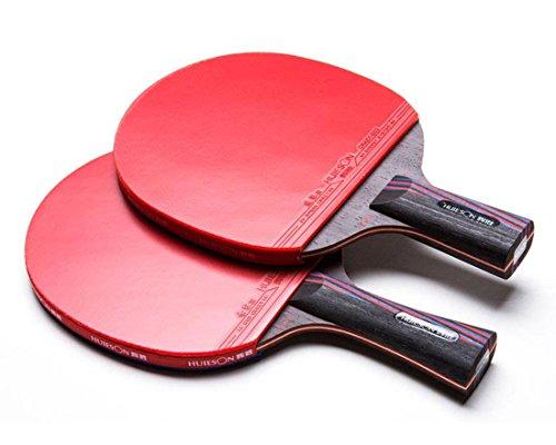 HUIESON de profesión Cola Antiadherente Balance de Ataque y Defensa Raqueta de Tenis de Mesa Rey de Carbono Entrenamiento o Competencia Tabla Bate de Tenis Ping Pong Paddle (Corto+Largo)