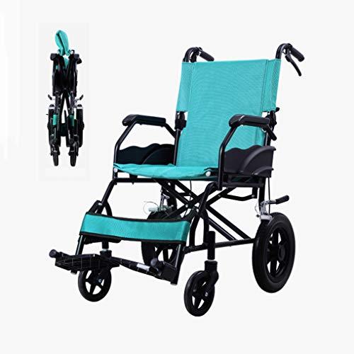 ZZR Silla de Ruedas-Rueda Maciza 93 cm de Altura, Plegable Peso Ligero Transporte Marco de aleación de Aluminio Silla de Ruedas para Adultos Mayores, 120 kg Peso Capacidad Trolley